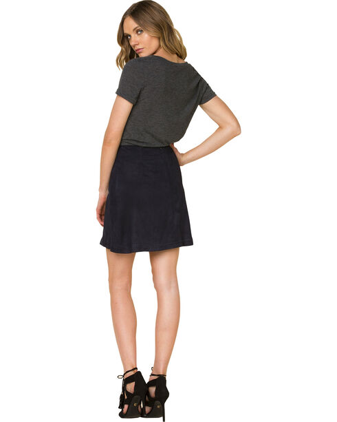 Miss Me Women's Black Faux Suede Skirt, Black, hi-res