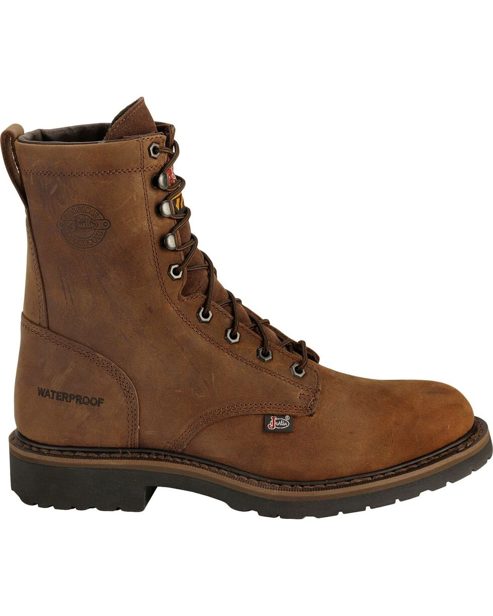 "Justin Men's Wyoming 8"" Waterproof Steel Toe Lace-Up Work Boots, Brown, hi-res"