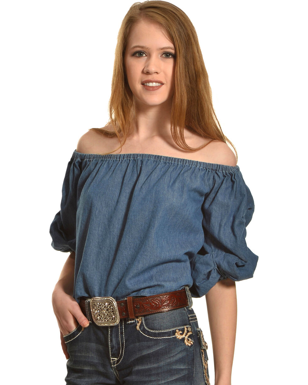 Derek Heart Women's Denim Off Shoulder Top , Indigo, hi-res