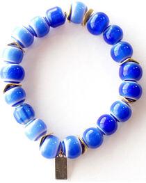 Everlasting Joy Jewelry Women's Blue Tile Gold Chip Bracelet , , hi-res