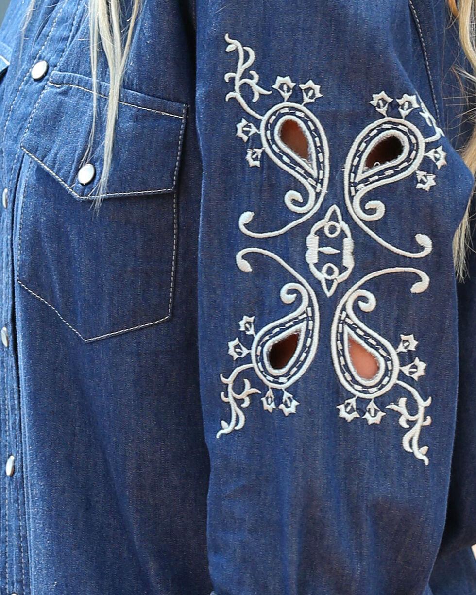 Cruel Girl Women's Indigo Embroidered Cutout Top , Indigo, hi-res