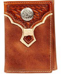 Nocona Rawhide Laced Concho Overlay Tri-fold Wallet, , hi-res