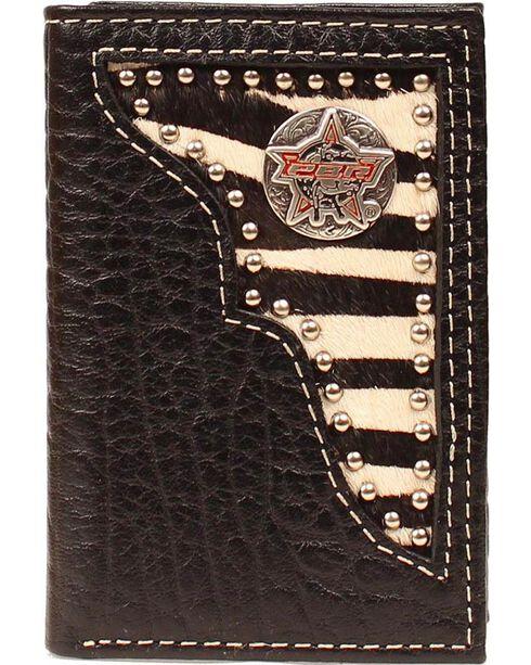 PBR Zebra Print Hair-on Hide Concho Tri-fold Wallet, Black, hi-res