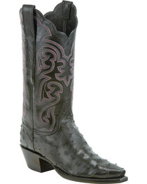 Lucchese Women's Black Audrey Full Quill Ostrich Western Boots - Snip Toe, , hi-res