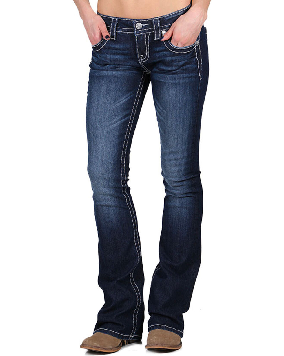 Miss Me Women's Low Rise Embellished Jeans - Boot Cut , , hi-res