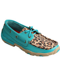 Twisted X Women's Turquoise/Leopard Driving Moccasins, , hi-res
