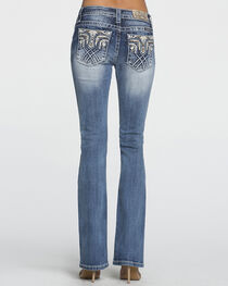 Miss Me Women's Mid-Rise Tribal Pocket Western Jeans - Boot Cut , , hi-res