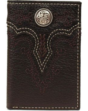 Ariat Fancy Concho Tri-fold Wallet, Black, hi-res