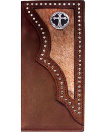 3D Men's Hair on Hide Inlay and Cross Concho Rodeo Wallet, , hi-res