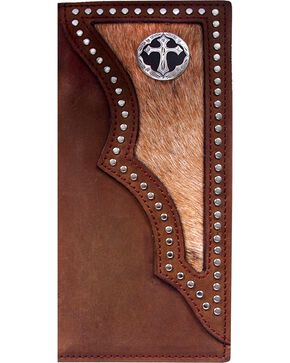 3D Men's Hair on Hide Inlay and Cross Concho Rodeo Wallet, Multi, hi-res