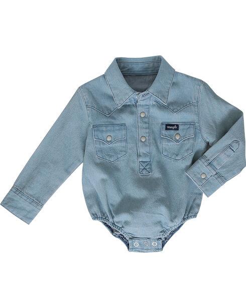 Wrangler Infant Boys' Blue Collared Onesie , Blue, hi-res