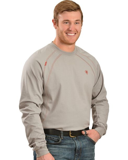 Ariat Men's Knit Fire Resistant Work Crew Long Sleeve, Silver, hi-res