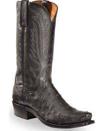 Lucchese Men's Black Luke Full Quill Ostrich Boots - Snip Toe , , hi-res