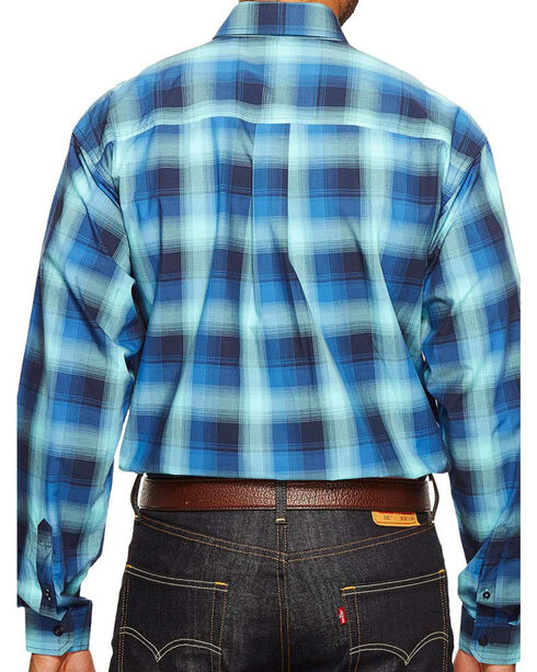 Cinch Men's Plaid Button Down Long Sleeve Shirt, Blue, hi-res