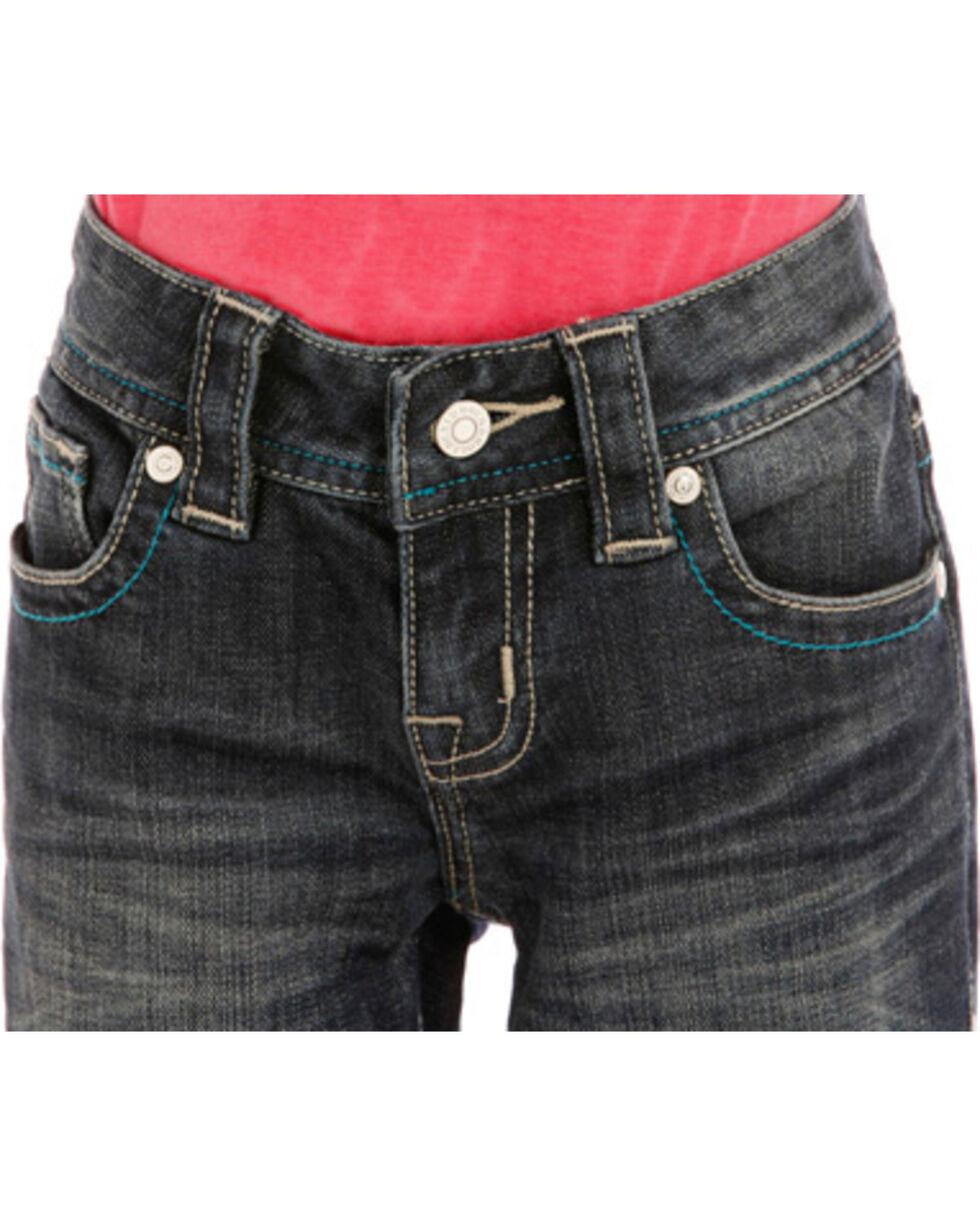 "Rock & Roll Cowgirl Girls' ""V"" Pocket Jeans - Boot Cut , Indigo, hi-res"