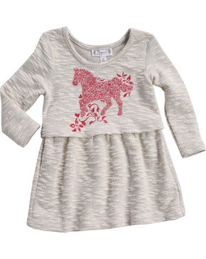 Shyanne Toddler Girls' Horse Printed Babydoll Top, Ivory, hi-res