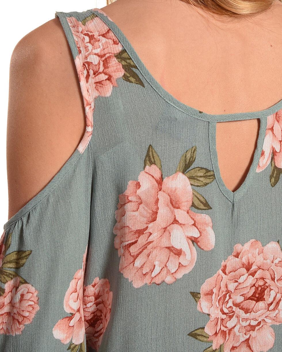 Lunachix Women's Sage Floral Printed Cold Shoulder Top, Sage, hi-res
