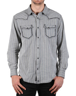 Moonshine Spirit Men's Laredo Striped Long Sleeve Western Shirt, Grey, hi-res
