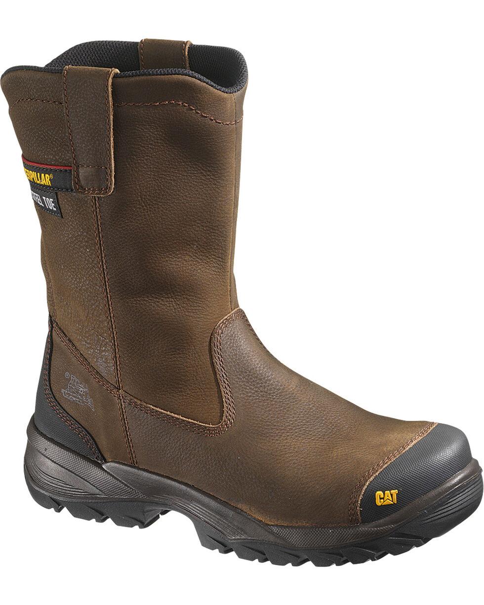 """CAT Men's Spur 9"""" Steel Toe Wellington Work Boots, Brown, hi-res"""