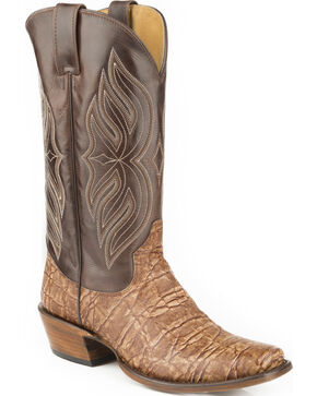 Roper Men's Elephant Print Western Boots, Brown, hi-res