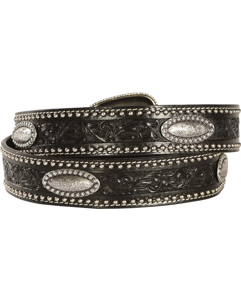 Cody James® Men's Tooled & Concho Leather Belt, Black, hi-res