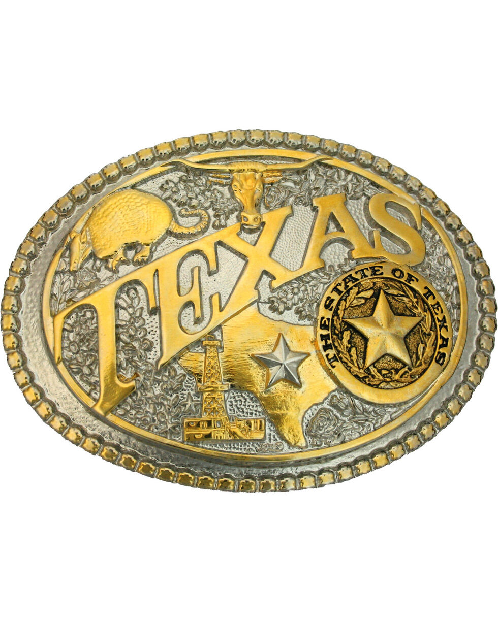 Montana Silversmiths Texas State Belt Buckle, Gold, hi-res
