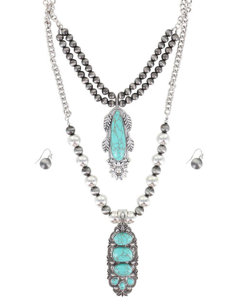 Shyanne Women's Layered Turquoise Stone Jewelry Set, Silver, hi-res