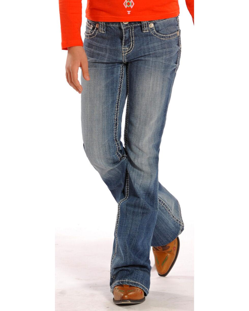 Rock & Roll Cowgirl Girls' Light Embellished Jeans - Boot Cut , Indigo, hi-res