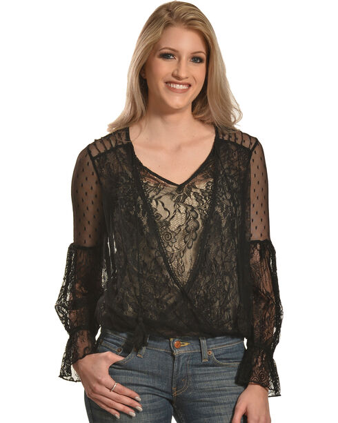 HYFVE Women's Lace Overlap Trumpet Sleeve Top, Black, hi-res