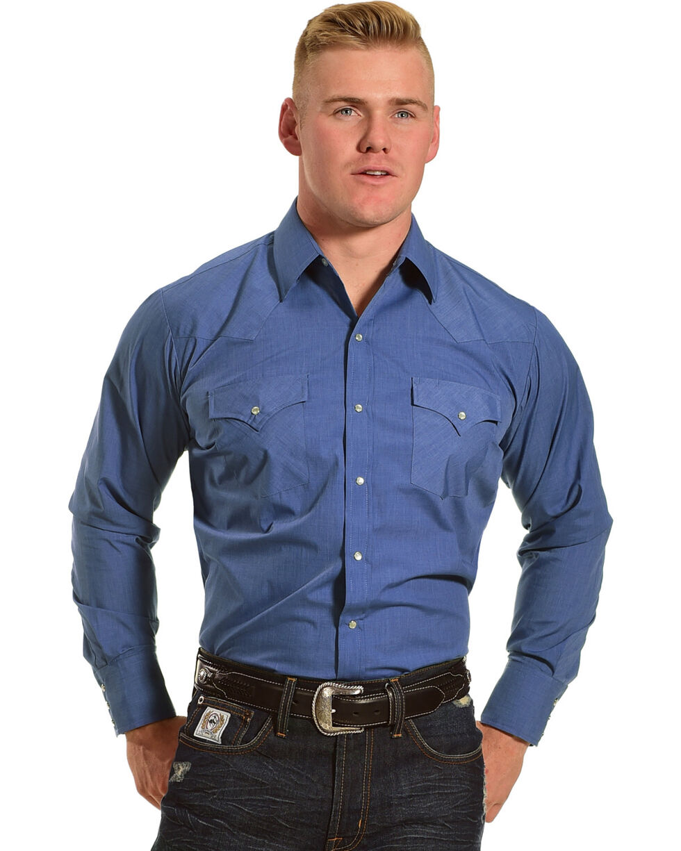 Ely Cattleman Men's Heather Blue Solid Long Sleeve Shirt, Heather Blue, hi-res