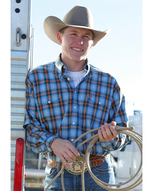 Cinch Men's Double Pocket Western Shirt, Blue, hi-res