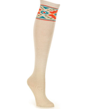 Shyanne® Women's Southwest Knee High Socks, Taupe, hi-res