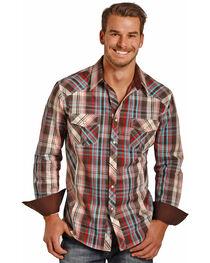 Rock & Roll Cowboy Men's Long Sleeve Twill Plaid Snap Shirt, , hi-res