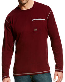 Ariat Men's Wine Rebar Crew Pocket Tee, , hi-res