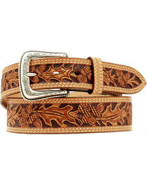 Nocona Leaf Tooled Belt, Natural, hi-res