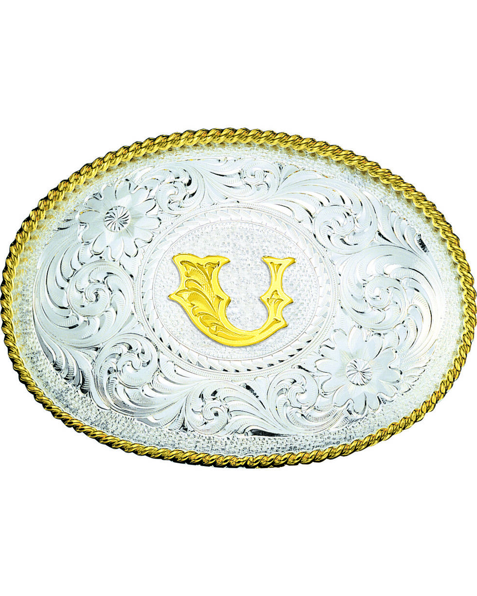 Montana Silversmiths Engraved Initial U Western Belt Buckle, Multi, hi-res