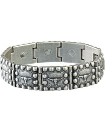 Sabona Men's Steerhead Beaded Edge Magnetic Bracelet, , hi-res