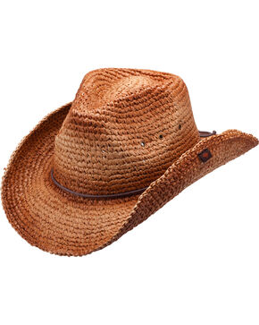 Peter Grimm Jules Raffia Straw Cowboy Hat, Brown, hi-res