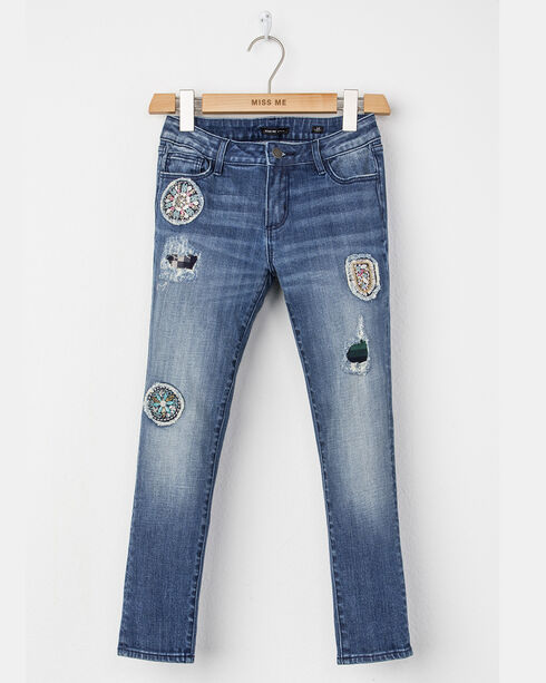 Miss Me Girls' Floral Patch Distressed Mid Rise Jeans - Skinny, Indigo, hi-res