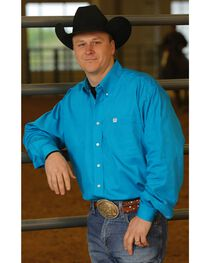 Cinch Long Sleeve Button-Down Solid Teal Shirt - Big & Tall, , hi-res