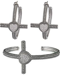 Montana Silversmiths Faith's Heart Cross Bracelet Jewelry Set, , hi-res