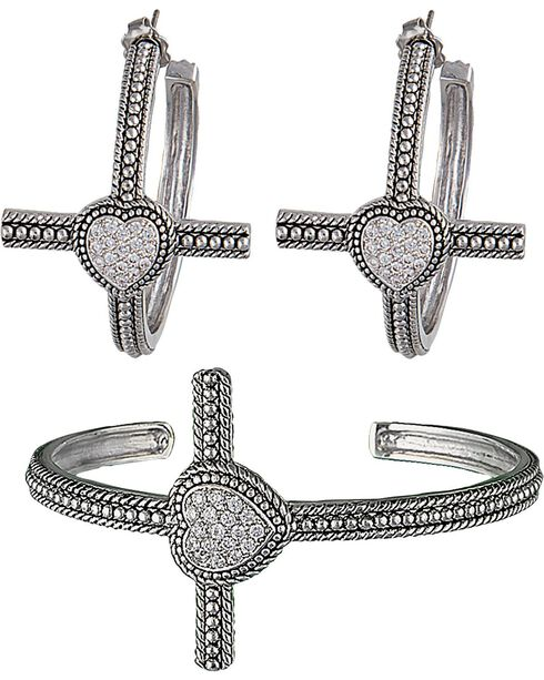 Montana Silversmiths Faith's Heart Cross Bracelet Jewelry Set, Silver, hi-res