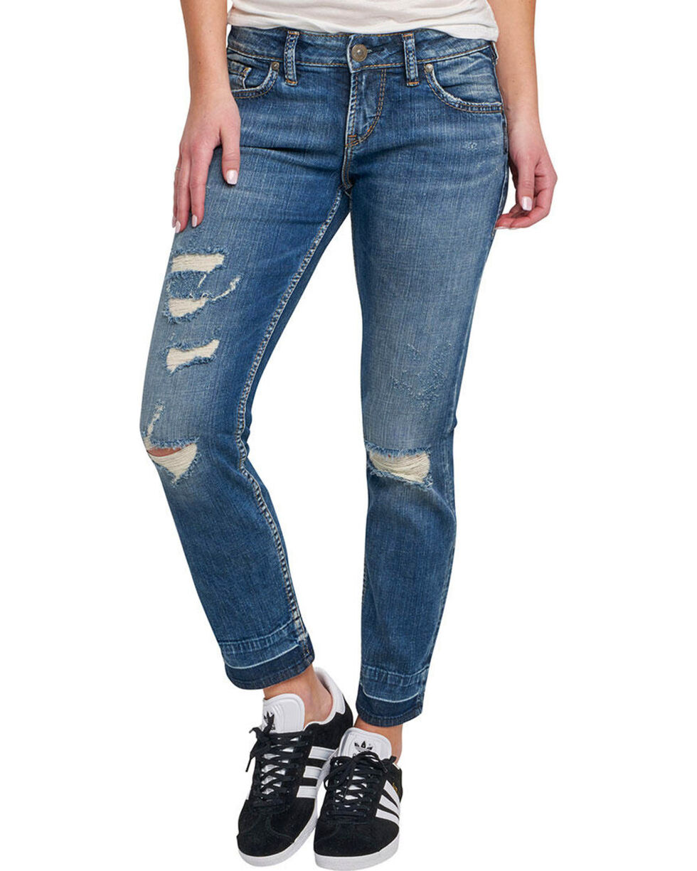 Silver Women's Sam Dark Wash Boyfriend Jeans  , Indigo, hi-res