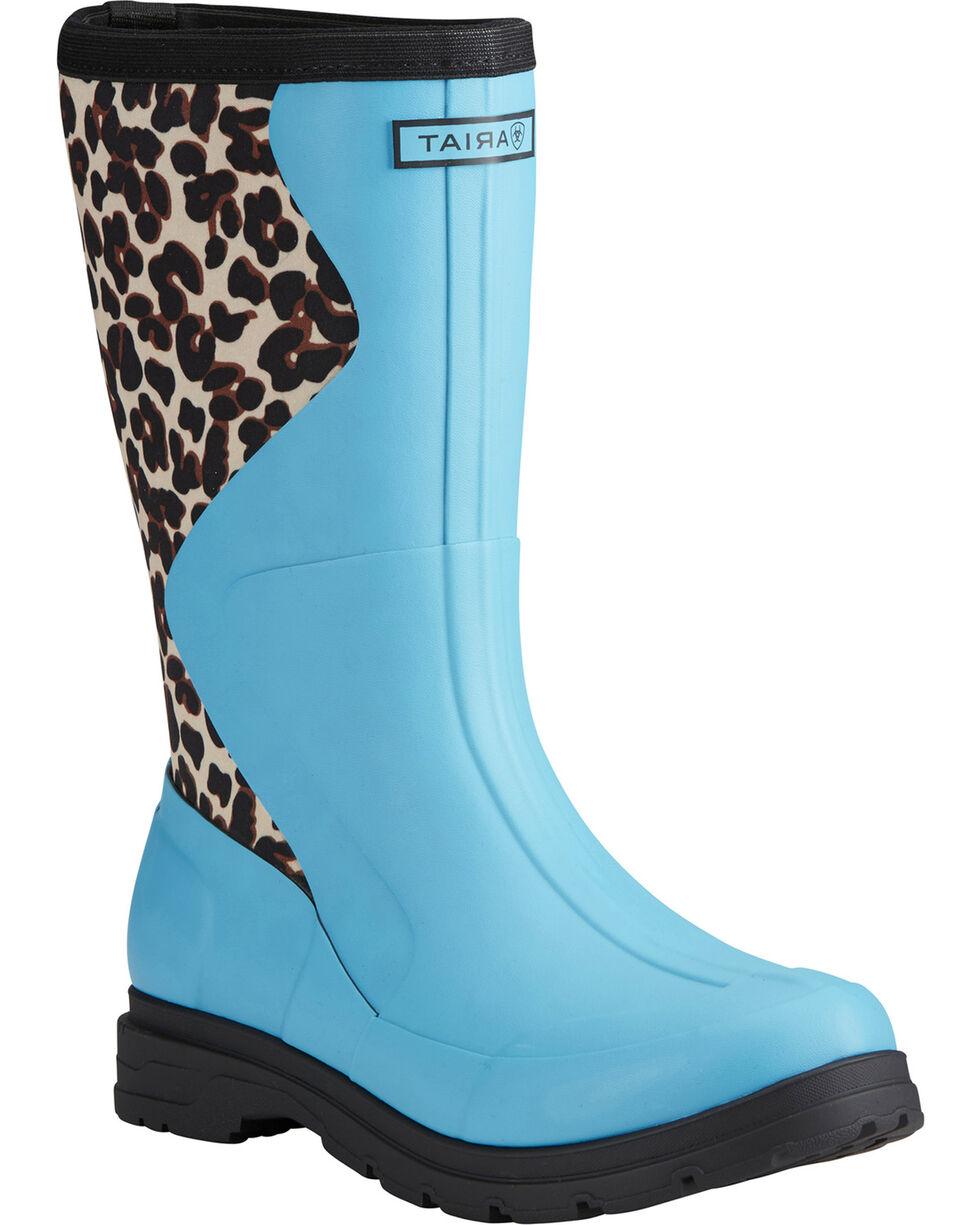 Ariat Women's Aqua Springfield Leopard Print Rubber Boots - Round Toe , Aqua, hi-res