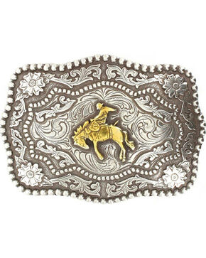 Cody James® Men's Bucking Bronc Rectangle Belt Buckle, Silver, hi-res