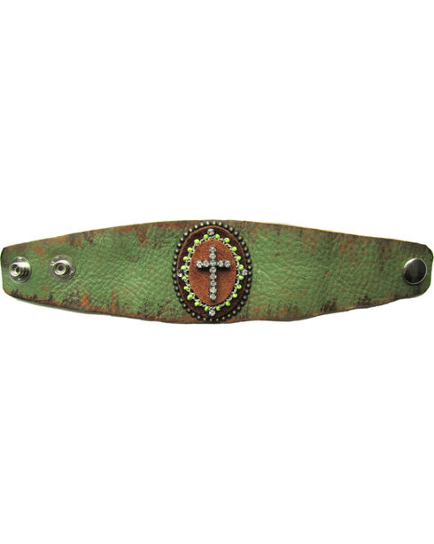 Cowgirl Confetti Leather with Crystal Cross Cuff, Green, hi-res