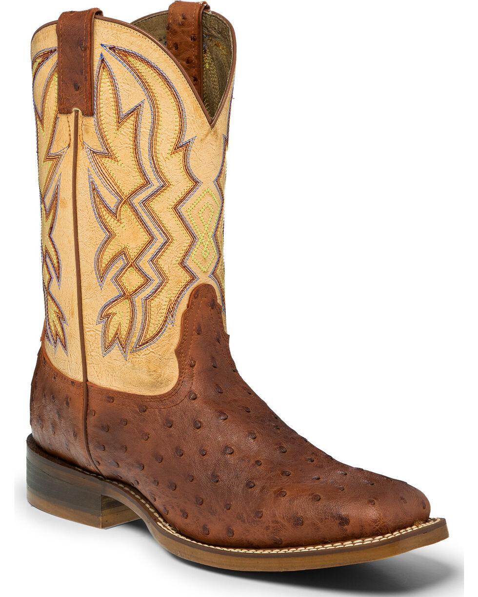 """Nocona Men's 11"""" Ostrich print Western Boots, Cognac, hi-res"""