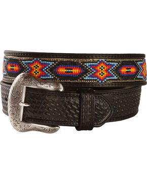 Nocona Beaded Inlay Leather Belt, Black, hi-res