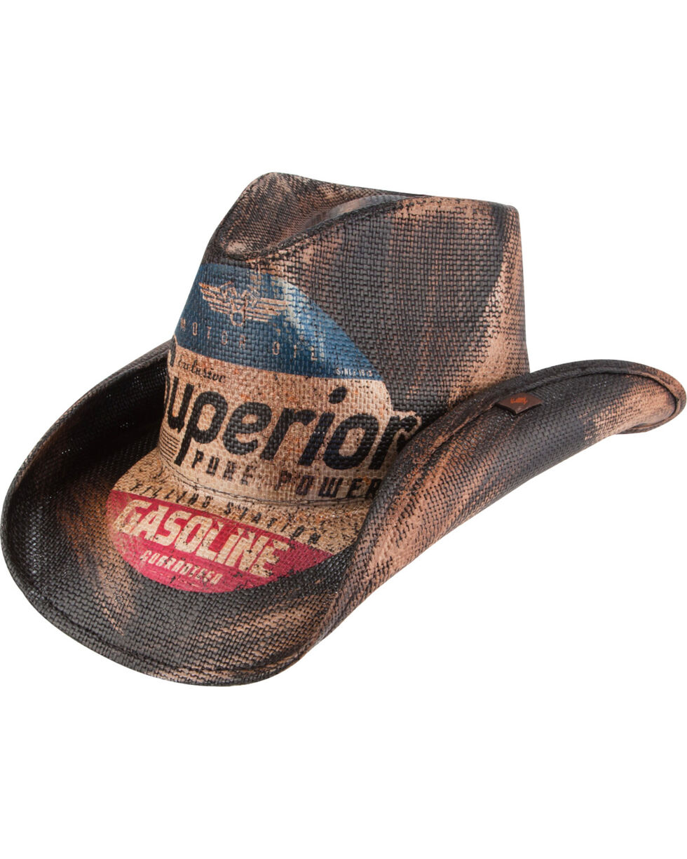 Peter Grimm Petro Printed Straw Cowboy Hat, Dark Brown, hi-res