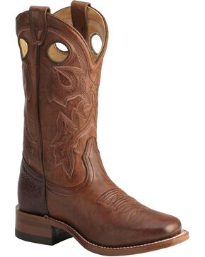 Boulet Women's Vintage Square Toe Western Boots, Dark Brown, hi-res